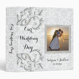 Our Wedding Day | Elegant Damask 3 Ring Binder