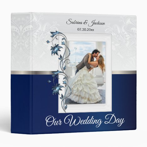 Our Wedding Day | Elegant White & Navy Blue 3 Ring Binder