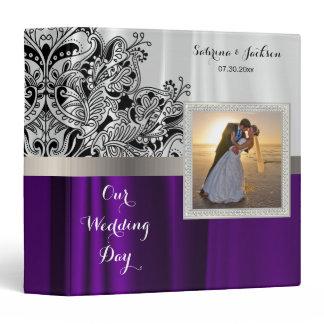Our Wedding Day   Elegant White & Purple Satin 3 Ring Binder