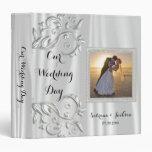 Our Wedding Day | Elegant White Satin 3 Ring Binder