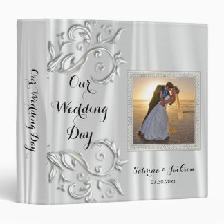 Our Wedding Day | Elegant White Satin 3 Ring Binder