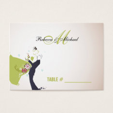 Our Wedding Day - Green Monogram Table Place Cards at Zazzle
