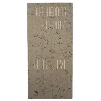 Our Wedding, Event Date Name Adam & Eve Rain Drops Wood USB Flash Drive