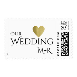 our wedding + faux gold love heart & initials postage