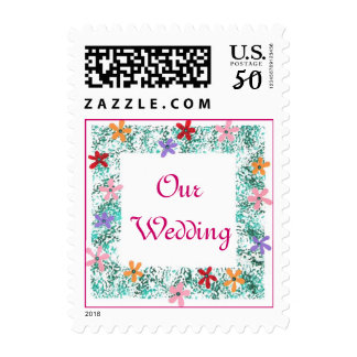 Our Wedding, flower border postage stamps