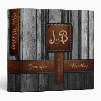 Our Wedding | Gray and Black Wood Album 3 Ring Binder