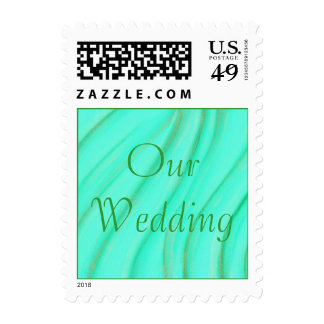 Our Wedding, green and gold blends postage stamps