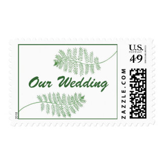 Our Wedding Green Ferns, postage stamps