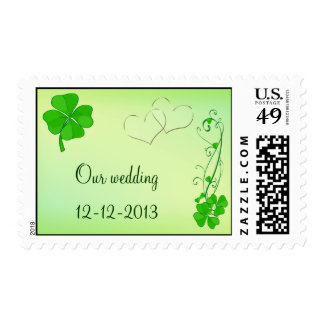 Our Wedding Green Lucky Shamrock Postage Stamp