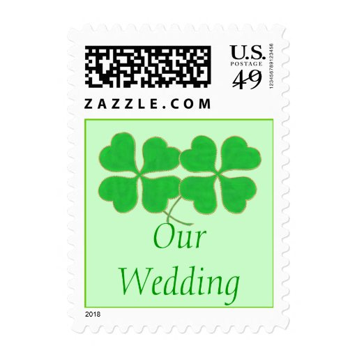 Our Wedding, Green Shamrocks Gold Dots, Stamps