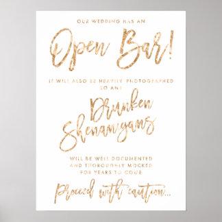 Our Wedding Has An Open Bar Sign Gold Foil Effect Poster