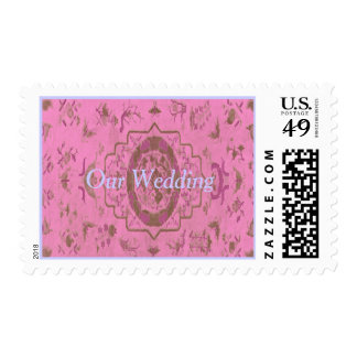 Our Wedding in pink oriental rug pattern Postage