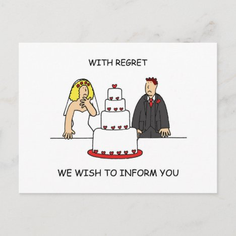 Our Wedding is Cancelled, Humorous Couple. Announcement Postcard