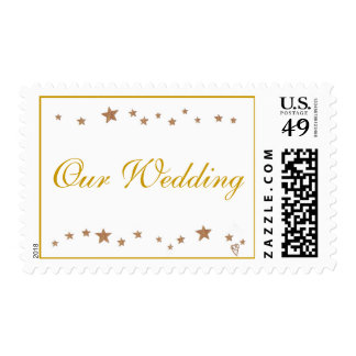 Our Wedding, lively gold stars border stamps