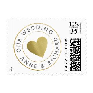 our wedding, love circle_stamp monogram postage