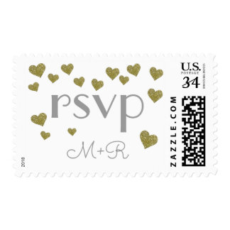 our wedding love + initials rsvp postage