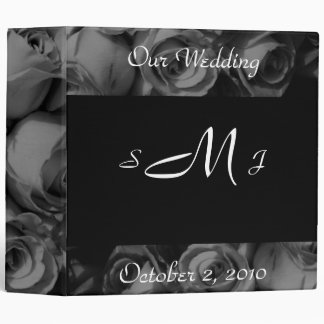 """Our Wedding"" (Monogram/Roses in B&W) 3 Ring Binder"