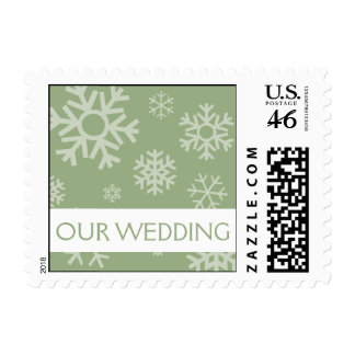 Our Wedding Multiple Snowflakes Postage (Sage)