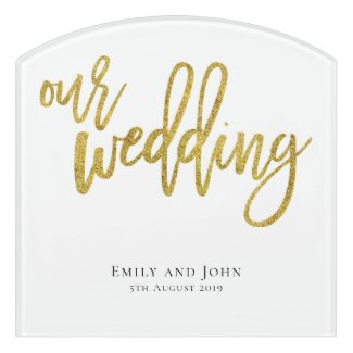 Our Wedding Names and Date of Wedding Door Sign