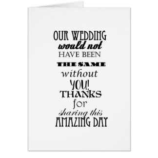 Our Wedding Note Card, white envelopes included Card