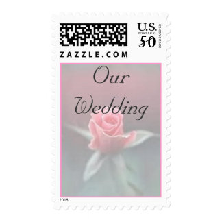 Our Wedding on Pink Rosebud Postage