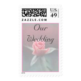Our Wedding on Pink Rosebud Postage Stamp