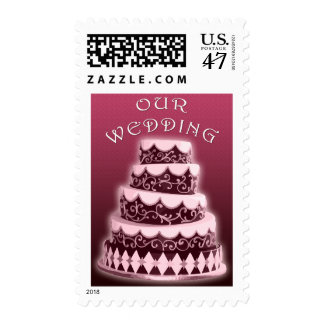 Our Wedding : Pink Cake : Postage
