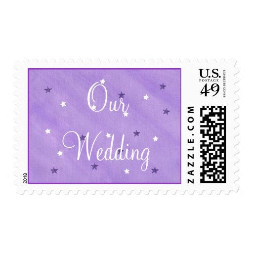 Our Wedding postage stamps, purple and white stars