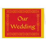 Our wedding, red and gold wedding invitation Cards