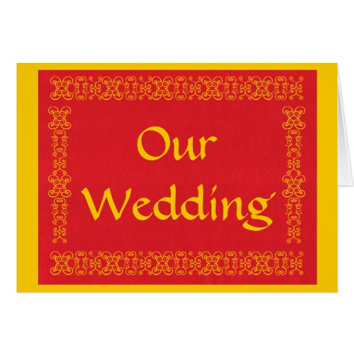 Our Wedding Red And Gold Wedding Invitation Cards