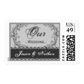 OUR WEDDING Silver and Gray Vintage Postage