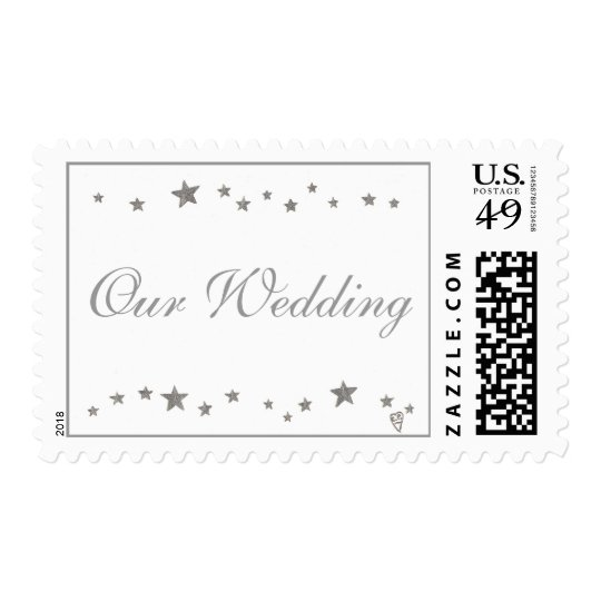 Our Wedding, Silver stars border Postage stamps