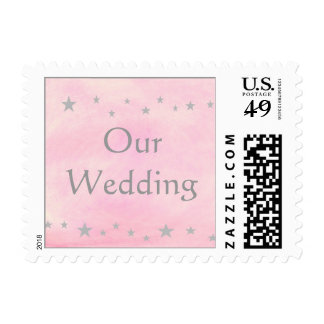 Our Wedding stamps, silver stars on pink stamps