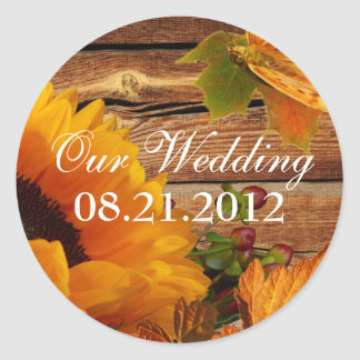 Our Wedding Stickers Round Rustic Fall Sunflower