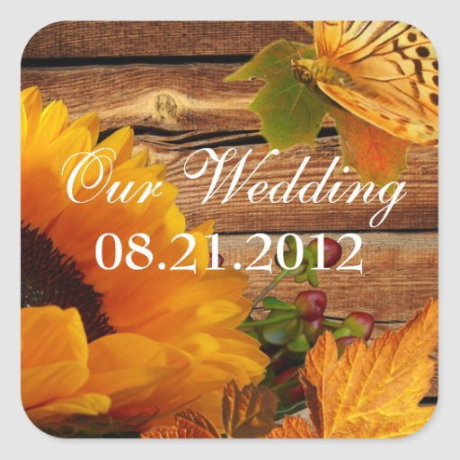 Our Wedding Stickers Square, Rustic Fall Sunflower