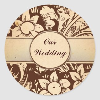 our wedding vintage damask stickers