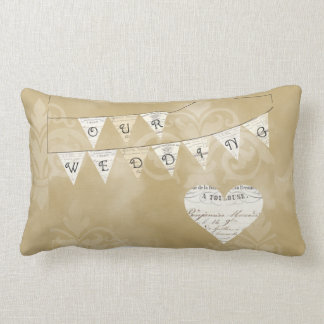 OUR WEDDING Vintage French Bunting Pillow