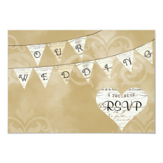 OUR WEDDING Vintage French Bunting RSVP Card