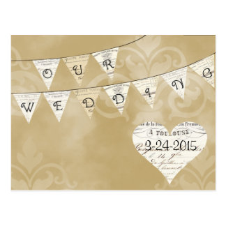 OUR WEDDING Vintage French Bunting Save the Date Post Card