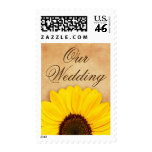 Our wedding yellow sunflower floral postage stamps