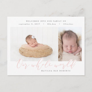 Our whole world multi photo birth announcement