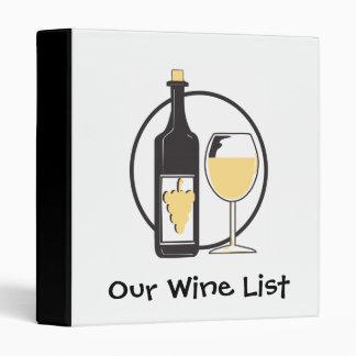 Our Wine List Vinyl Binder
