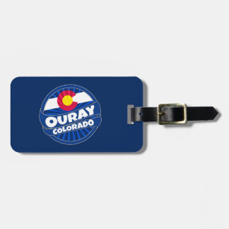 Ouray Colorado flag burst luggage tag