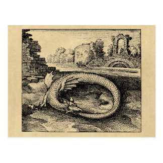 Ouroboros dragon biting it's tail sepia postcard