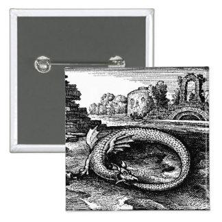 ouroboros serpent pin-backs 2 inch square button