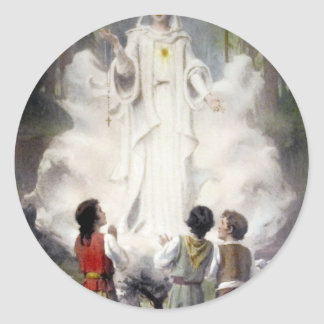 Ours Mrs. of Lourdes and the three pastorinhos Classic Round Sticker