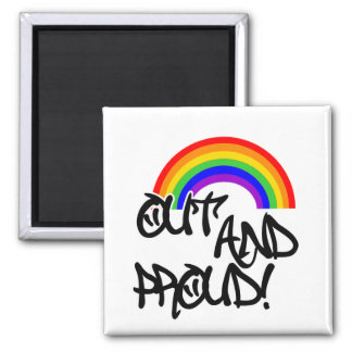 Out and Proud 2 Inch Square Magnet