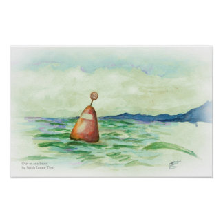 Out at sea Buoy watercolor sketch print