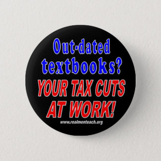 Out-dated textbooks (black) pinback button