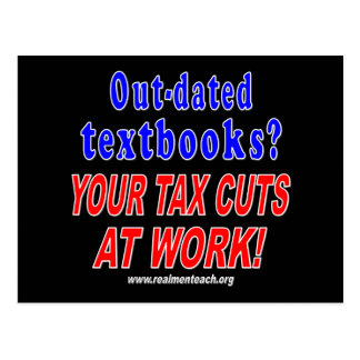 Out-dated textbooks black post card